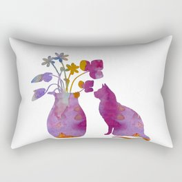 Cat and flowers Rectangular Pillow