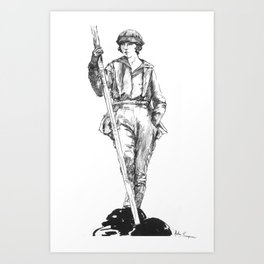 "Vintage Illustration ""Outdoor Sportswoman""  Art Print"