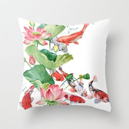 Koi Fish Pond With Large Lotus Flowers Leaves Watercolor Painting Chinese Style Throw Pillow