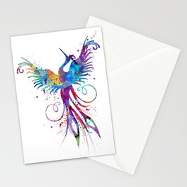 Phoenix Watercolor Print Nursery Art Gift for Her Bird Art Stationery Cards