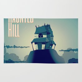 House on haunted hill vintage cartoon movie poster Rug
