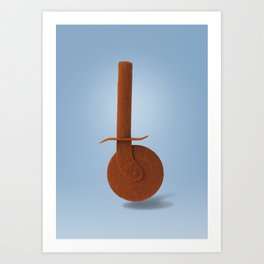Pizza knife and paprika Art Print