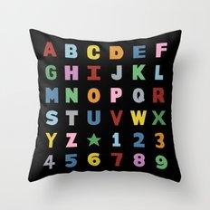 Alphabet on Black Throw Pillow