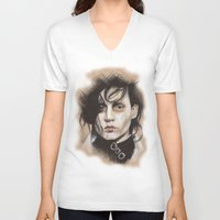 edward scissorhands V-neck T-shirts featuring Edward Scissorhands by Stephanie Nuzzolilo