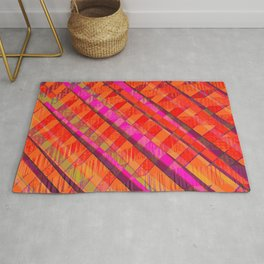 stripes distorted. hot orange Rug