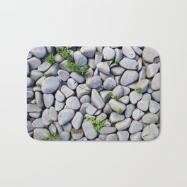 Sea Stones - Gray Rocks, Texture, Pattern Bath Mat