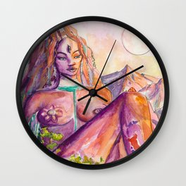 One With Nature - Mountain Goddess Watercolor Wall Clock