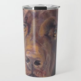 Chocolate lab LABRADOR RETRIEVER dog portrait painting by L.A.Shepard fine art Travel Mug