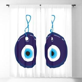 Blue Evil Eye Bead Blackout Curtain