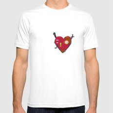 Robot Heart Mens Fitted Tee White MEDIUM