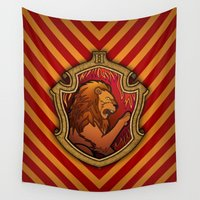 gryffindor Wall Tapestries featuring Hogwarts House Crest - Gryffindor by Teo Hoble