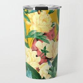 Tangerine Floral Pattern Vintage Travel Mug