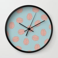 brain Wall Clocks featuring Brain  by Minimum