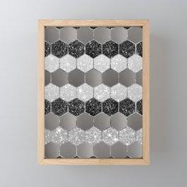 Silver Hexagon Glitter Glam #1 #geometric #decor #art #society6 Framed Mini Art Print