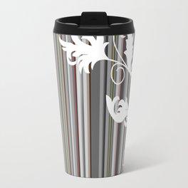 Gray and White Pinstripe Floral Line Design Travel Mug