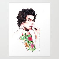 harry styles Art Prints featuring Harry Styles by dariemkova