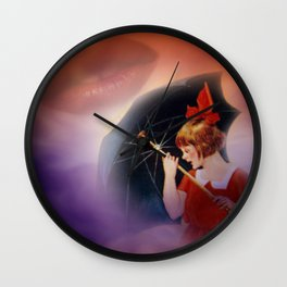 the girl and the umbrella Wall Clock