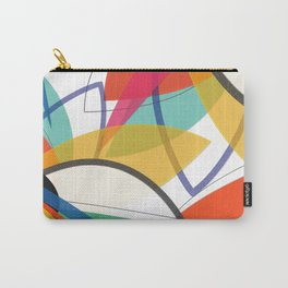 Contemporary composition of multicolored abstract flowers, superposition of geometric shapes Carry-All Pouch