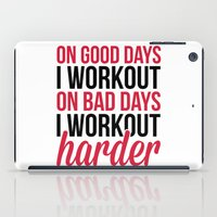 workout iPad Cases featuring Workout Harder Gym Quote by EnvyArt
