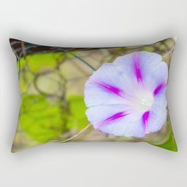 Blue purple flower at barbed wire fence. Rectangular Pillow