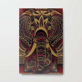 Rubino Zen Elephant Red Metal Print