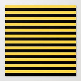 Even Horizontal Stripes, Yellow and Black, M Canvas Print