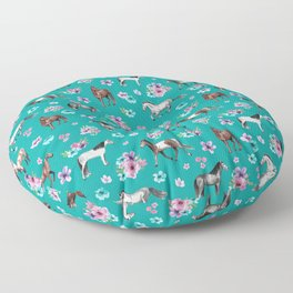 Horse Pattern, Floral Print, Turquoise, Little Girls Room, Horses Floor Pillow
