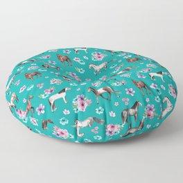 Horse Pattern, Floral Print, Turquoise, Little Girls Room, Horses Floor Pillow