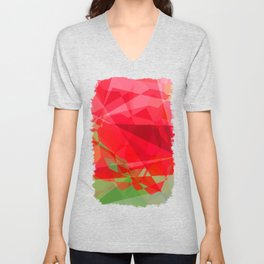 Red Rose Edges Abstract Polygons 3 Unisex V-Neck