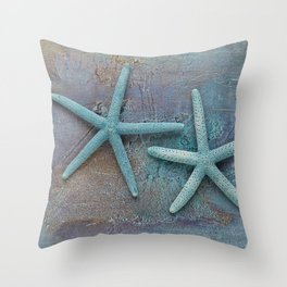 Turquoise Starfish on textured Background Throw Pillow