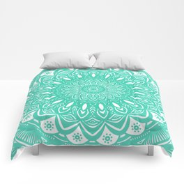 Minimal Aqua Seafoam Mint Green Mandala Simple Minimalistic Comforters