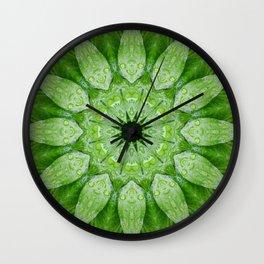 Green Mandala, heart chakra, nature sacred geometry rain drops leaves Wall Clock