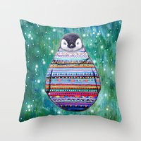 penguin Throw Pillows featuring penguin by beart24