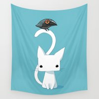 cat coquillette Wall Tapestries featuring Cat and Raven by Freeminds