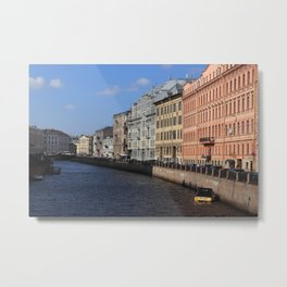 Embankment of the Moika River. Facades of buildings of St. Petersburg. Metal Print