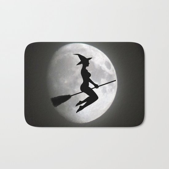 Witch On a Broom Against the Moon Bath Mat