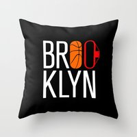 brooklyn Throw Pillows featuring Brooklyn by David Bastidas