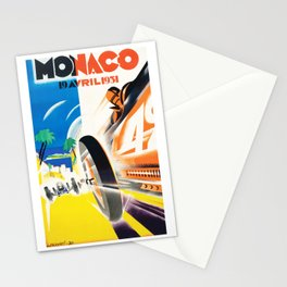 Grand Prix Monaco, 1931, vintage poster Stationery Cards
