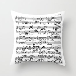 Sheet Music by Bach Throw Pillow