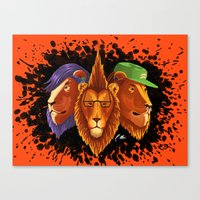 hipster lion Canvas Prints featuring Hipster Lion Trinity by R.Mac