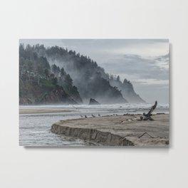 Hills And Mist At Proposal Rock Metal Print