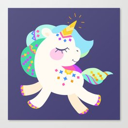Cute unicorn with colorful mane and tail Canvas Print