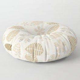 Neutral Color Tropical Leaf Pattern Floor Pillow