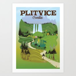 Plitvice Croatia landscape model travel poster. Art Print