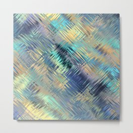 Modern Abstract Light Reflective, Teal, Purple, Gold, Glass, Optical Illusion Metal Print