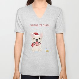 French Bulldog Waiting for Santa - Cream Edition Unisex V-Neck