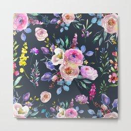 Colorful Watercolors Flowers Pattern Metal Print