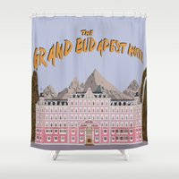 the grand budapest hotel Shower Curtains featuring THE GRAND BUDAPEST HOTEL by Kaitlin Smith