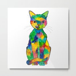 Rainbow Cat Metal Print