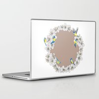 tits Laptop & iPad Skins featuring Blue Tits and Blossoms by Hannah Ramus